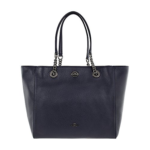 COACH Women's Polished Pebble Leather Turnlock Chain Tote Dk/Navy One Size