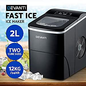 DEVANTi Portable Ice Cube Maker Commercial Ice Cube Machine Stainless Steel Suitable for Home Bar 2L - Black