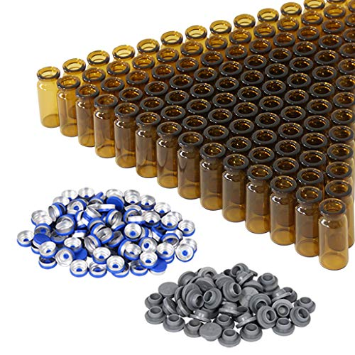 10ml Amber Glass Vials with Plastic-Aluminum Caps and Rubber Stoppers, 100 Pack, 20mm Flat Bottom Headspace Lab - Glass Amber Vials