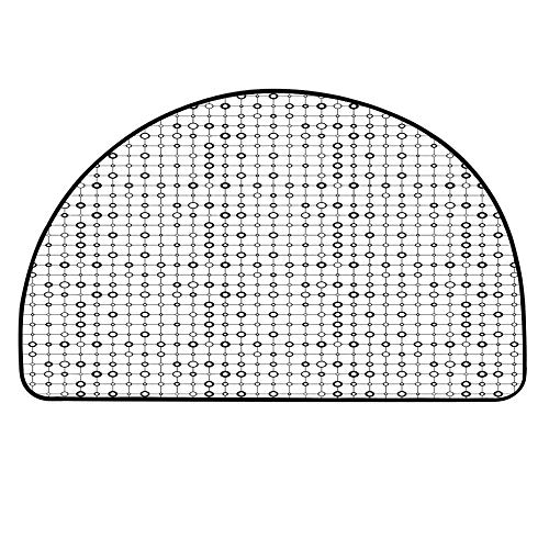 - YOLIYANA Geometric Half Circle Rug,Monochrome Grid with Stripes and Circles Minimalistic Futuristic Modern Design Decorative Door Mat,19.6