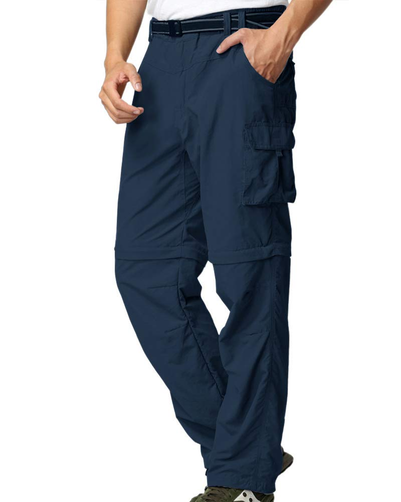 Mens Hiking Pants Convertible Zip Off Fishing Travel Safari Quick Dry Lightweight Trousers #225-Blue,34 by Jessie Kidden