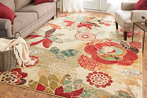 Mohawk Home Strata Geo Floral Pattern Printed Area Rug, 7'6x10', Tan