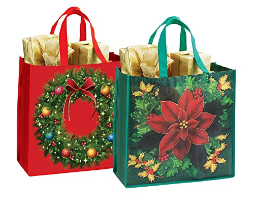 Reusable Christmas Gift Wrap Bags or Shopping Totes - Set of (Christmas Shopping Bags)