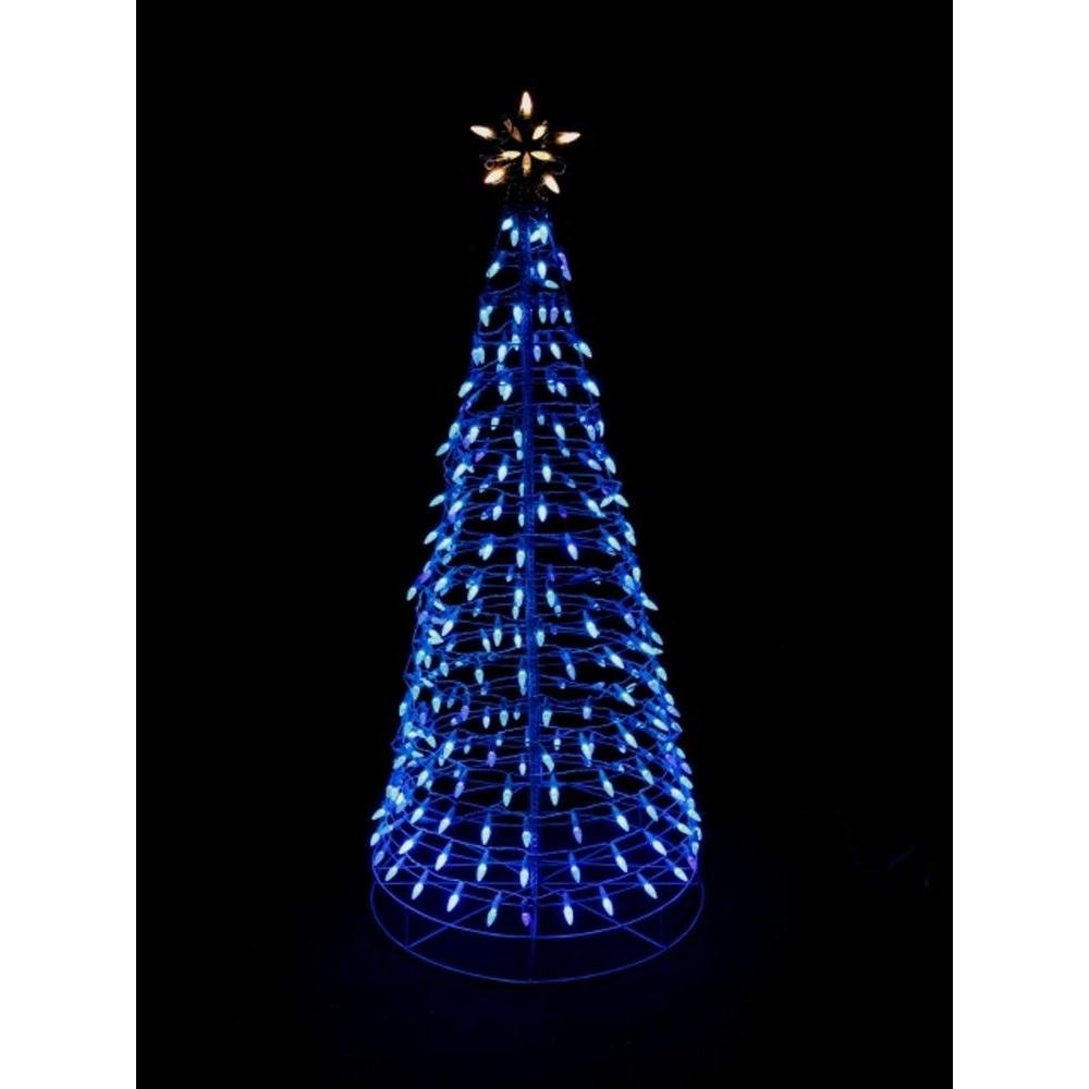 6 ft. Pre-Lit LED Blue Twinkling Tree Sculpture with Star by