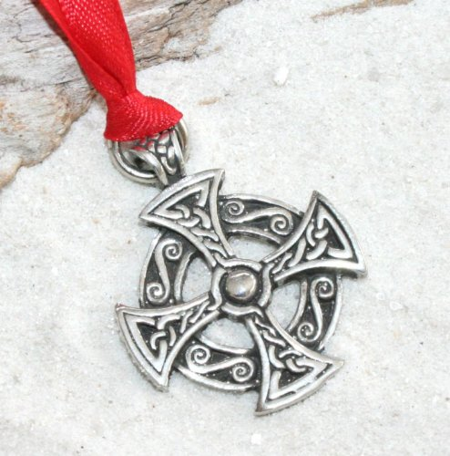 - Pewter Solar Cross Celtic Druid Irish Pagan Christmas Ornament and Holiday Decoration