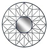 Renata Geometric Round Metal Accent Mirror with 31.5 inch Diameter, Navy Blue