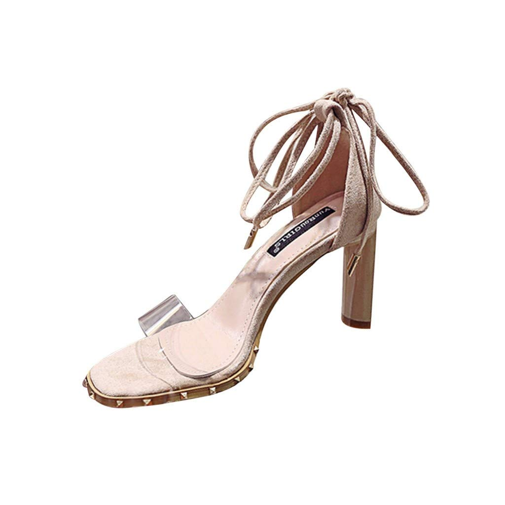 Sandals for Women THENLIAN Summer Shallow Mouth Bow Leaky Toe Fashion Bandage High Heel Sandals Shoes(37, Beige)