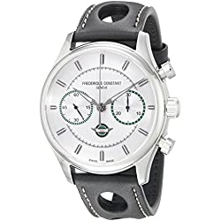 Frederique Constant Men's 'VintageRally' Silver Dial Black Leather Strap Limited Edition Swiss Automatic Watch FC-397HS5B6