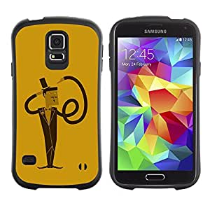 TopCaseStore Hybrid Rubber Case Hard Cover Protection Skin for SAMSUNG GALAXY S5 - Funny Spiral Flexible Man