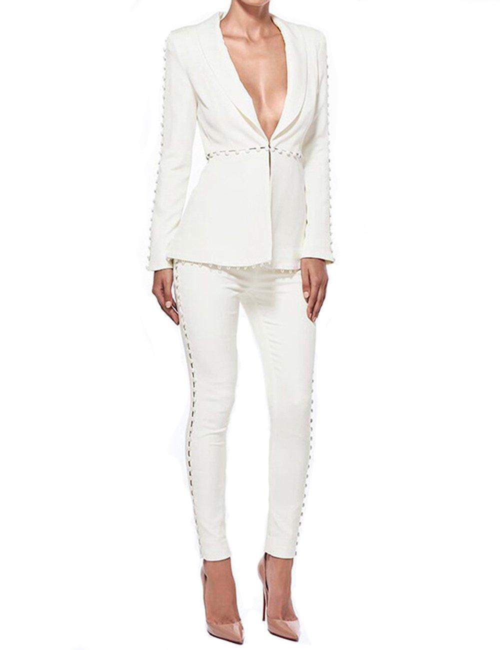 UONBOX Women's Cut Out 2 Pieces Slim Fit Blazer Jacket Pants Suit Set (S, White)
