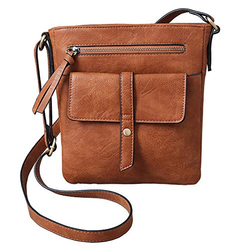 (Multi Pocket Crossbody Purse PParth PU Leather Small Shoulder Bag with Front Flap for Women (Apricot) )