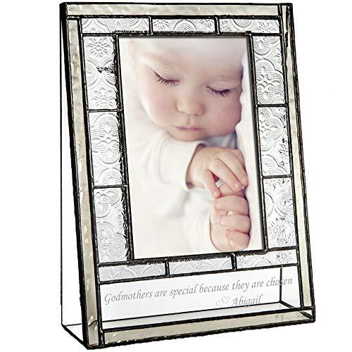 J Devlin Pic 387-46V EP583 Engraved Glass Picture Frame Personalized Gift for Godmother Godparent 4 x 6 Vertical Photo Christening Baptism