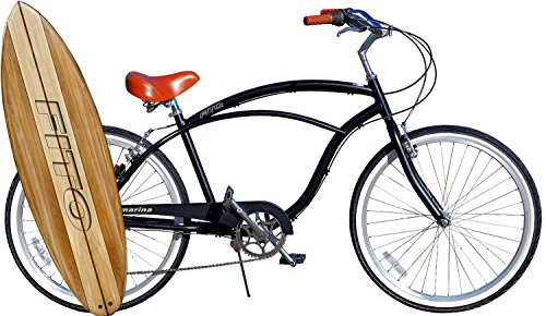 Cheap Anti Rust Light Weight Aluminum Alloy Frame, Fito Marina Alloy 7-speed for men – matte black / brown, 26″ wheel Beach Cruiser Bike Bicycle