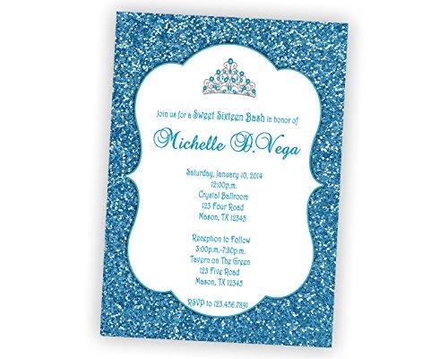 amazon com royal blue glitter sweet 16 invitations tiara bling