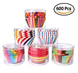 Aimyoo Cupcake Wrappers - 600pcs Assorted Rainbow Cake Liners Muffin Holder for Wedding Decorations Party Supplies