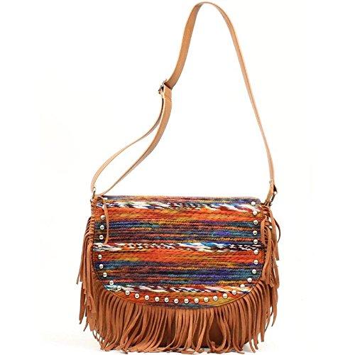 Blazin Roxx Women's Fringed Southwestern Fringe Bag Brown Multi One Size