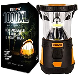 Internova Rechargeable Camping Lantern Power Bank – Massive Brightness Adjustable 360 LED Arc Lighting – Emergency – Backpacking – Construction – Hiking – Auto – Home