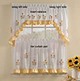 Sunnyside Sunflowers - Swag (pr) SHEER Kitchen Curtain