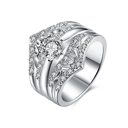 Champagne Colored Costume Jewelry (Women's New Exquisite Fashion Jewelry Hot Sale Platinum Crown Diamond Ring)