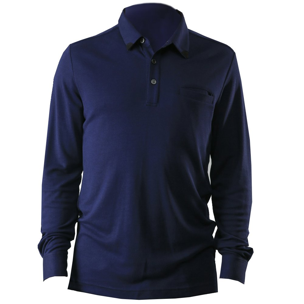 Cashmere Mens business Casual Long Sleeve Polo Shirts (L, Navy blue) by t7