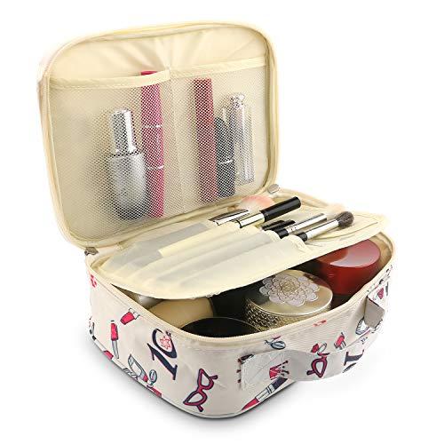 Fashion Cosmetic Bag Cute Makeup Toiletry Bag Multifunction Storage Portable Waterproof Travel Makeup Organizer Bag for Women (Cute-Beige)