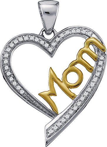 10 k or blanc Diamant 0,13 Dwt Maman-Pendentif or de haute qualité Or 9 Carats JewelryWeb