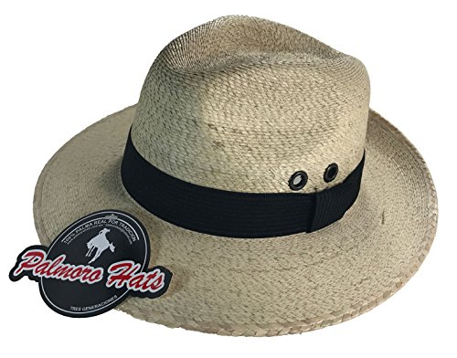 [Cartin Faldon Palm Straw Panama Fedora Hat (Medium, Natural w/ Black Band)] (Straw Safari Hat)