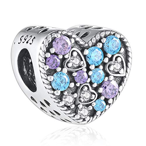 Angemiel 925 Sterling Silver Charms with Fine Package, Heart Shape Beads Suitable for Necklace as Birthday Gifts for Kids