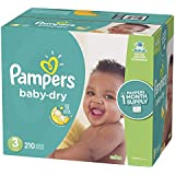 Pampers Baby Dry Disposable Diapers, Size 3, 210 Count, ONE MONTH SUPPLY
