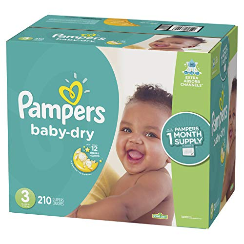 Diapers Size 3, 210 Count - Pampers Baby Dry Disposable Baby Diapers, ONE MONTH SUPPLY ()
