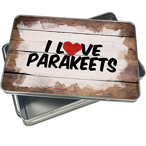 NEONBLOND Cookie Box I Love Parakeets Christmas Metal Container