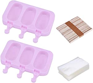 CoscosX Silicone Popsicle Molds Ice Cream Mold Popsicle Maker DIY Ice Pop Mold Maker Homemade Food Storage Container,Kids Ice Cream Pop Mold Baby Food Freezer Trays 50 Wooden Sticks&100 Popsicle Bags