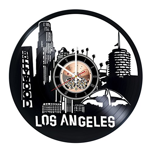 choma Los Angeles Skyline Vinyl Record Wall Clock - Living Room or Bedroom wall decor - Gift ideas for friends, mother and father - City Unique Art Design ()