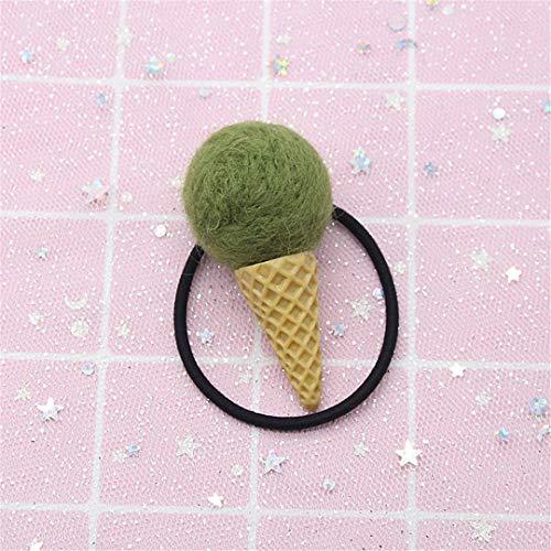 Kids Wool Felt Sweet Tube Hair Bands Girls Candy Color Ice Cream Hair Ball High Elastic Hair Rubber Bands Hair Accessories ()