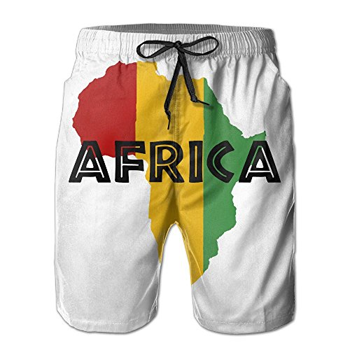 SOURCE POINT Men's Rasta Africa Map Summer Beach Shorts Leisure Quick Dry Swimming Pants by SOURCE POINT