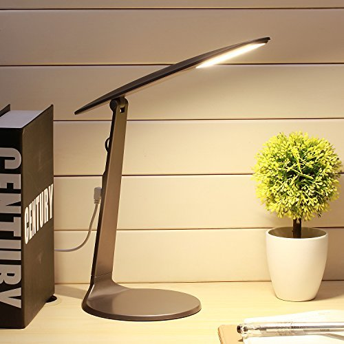 LED Desk Lamp, AVAWAY Stepless Dimmable Table Lamp, USB Powered Foldable Reading Lamp for Studying, Reading, Working - Small & Lightweight - (Ava Table Lamp)