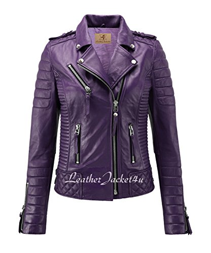 Womens Purple Leather Jacket - 9