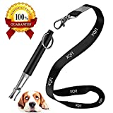 XQFI Dog Whistle, Professional Dog Training Whistle to Stop Barking,Professional Ultrasonic Adjustable High Pitch Ultra-Sonic Sound Tool with Free Premium Quality Lanyard Strap(Black)