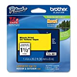 Brother 36mm (1 1/2'') Extra Strength Super Adhesive Black on Yellow Industrial Tape (8m/26.2 Ft.) (1/Pkg)