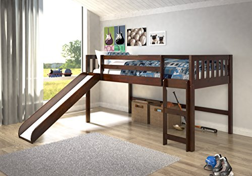 Donco Trading Company 715-TCP Dark Cappuccino Twin Mission Low Loft Bed with Slide by DONCO
