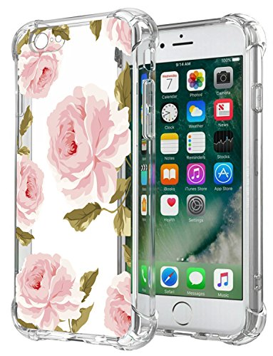 Floral Clear iPhone 6S Case iPhone 6 Case for Women/Girls,GREATRULY Pretty Phone Case for iPhone 6S/6,Flower Design Transparent Soft TPU Shock ...