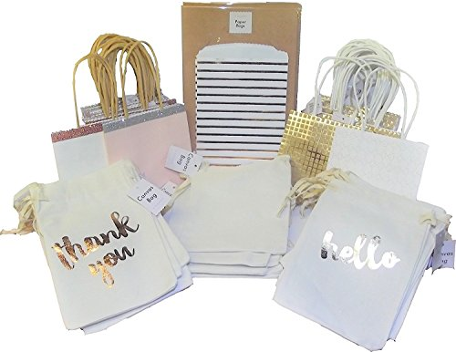 36 Count Variety Pack Small wedding Gift Canvas Favor Bags (62 Total Count)