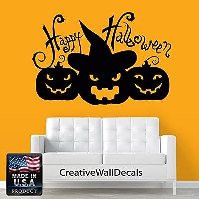 Wall Decal Vinyl Sticker Decals Decor Design Happy Halloween Pumpkin Holidays Moon Castle Horror Hallowen Gift Bedroom Dorm Office(r1288)