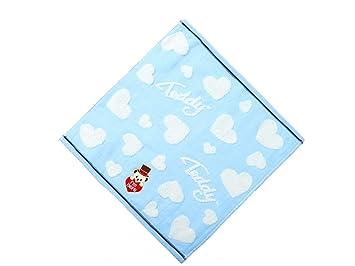 Huertuer Toallita de Dormitorio Oso de Dibujos Animados bebé algodón Absorbente Toalla de Cara Toalla de bebé Saliva Toalla Cuadrada niños (Azul) Toalla ...