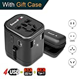 Travel Adapter Universal International Power Adapter Quick USB Charger with 1 Type C and 3 USB Ports All in One Worldwide Power Outlet Converter Wall Plug Adapter for USA/EU/UK/AUS(Black)