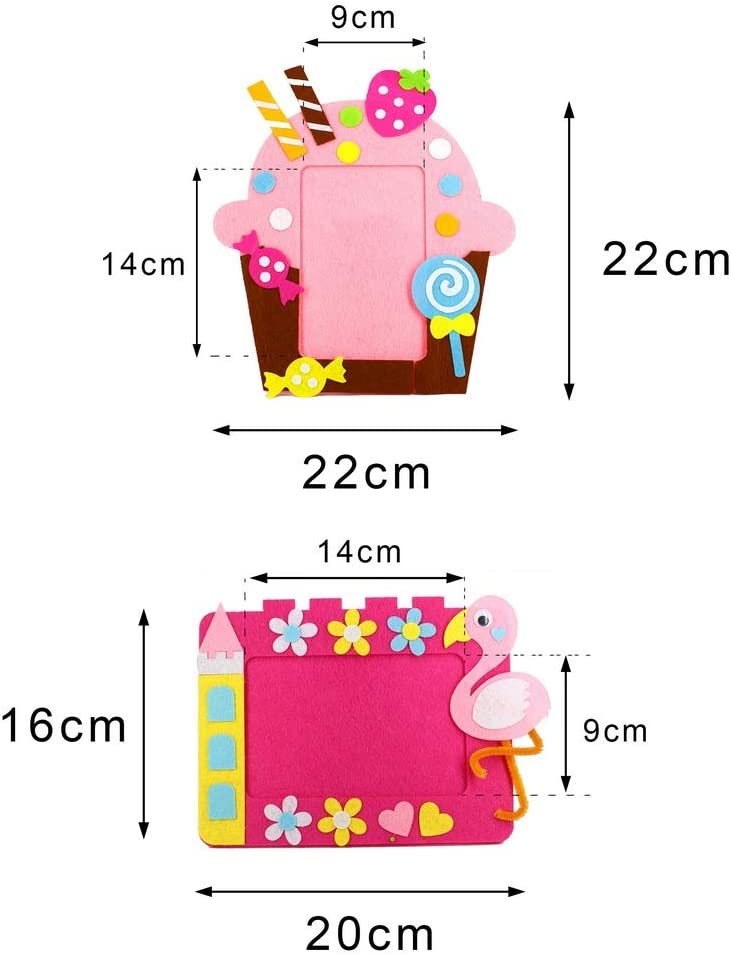 kuou 10pcs DIY Childrens Photo Frame DIY Picture Holder for Kids Non-Woven Fabric Handmade Photo Frame Childrens Photo Frames for Boys Girls Educational Toy Creative Gift