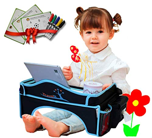 Standable Travel Tray for Kids Extra Sturdy - Plane/Car Seat Play Tray for Your Toddler-Portable, Multi-Use Lap Desk -w/White Board, Car Entertainment Table, Bonus Activity Sheets and 5 Markers