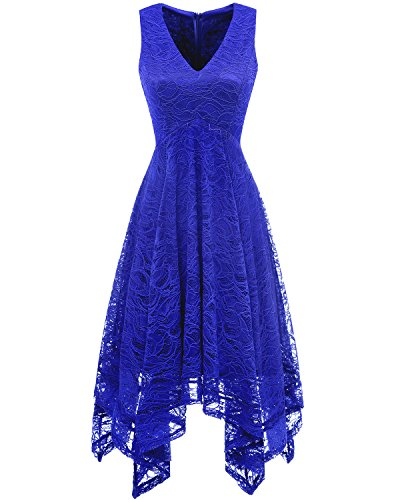 Cocktail Damen bridesmay Spitzenkleid unregelmäßig Elegant Blue Brautjungfernkleider Royal 7wwdE6q