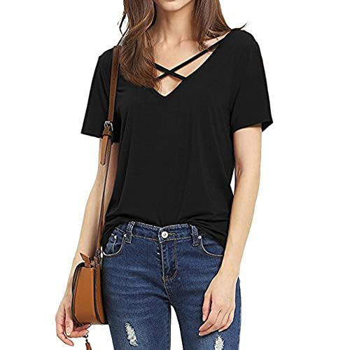 Haola Women's Summer Cross Front Tops Deep V Neck Casual Teen Girls Tees T  Shirts M Black