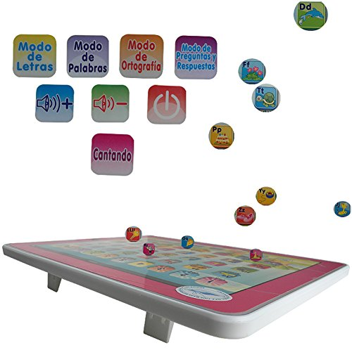 XHAIZ Spanish Learning Touch Tablet Educational Toy for Kids Pink